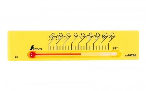 "Thermometer ""Petit Thermo Square Horizontal 13.5cm with Magne Yellow"