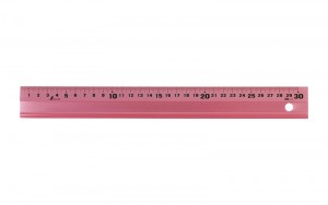 Aluminum Rule with Non-slip Pad 30cm Pink